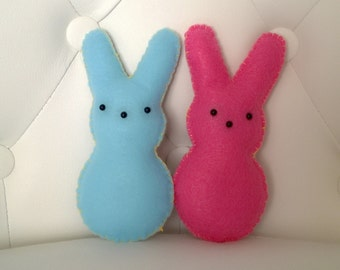 Kawaii Peeps Bunny Rabbit Plush Stuffed Animal Doll Cloth Plushie Soft Softie Cute Ooak Gift Holiday Small Blue Pink Easter