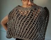Poncho Sweater Chunky Silver Grey Handknit