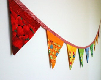 Mini Fabric Bunting - Rainbow Patchwork Bunting - Photo Prop, Party Decor, Fabric Garland, Nursery Decor