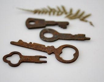 Vintage Flat Skeleton Keys - Rusty Old Keys for Repurpose