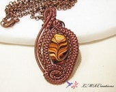 Antiqued Copper Wire Wrapped Necklace, Brown Swirl Bead Wire Woven Pendant, Statement Necklace, Unique Handmade Ladies Jewelry
