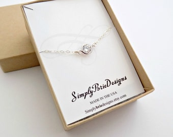 Tiny CZ dot necklace, STERLING silver, everyday sparkle cubic zirconia circle necklace, bridesmaids gifts, bridesmaids CZ dot necklace