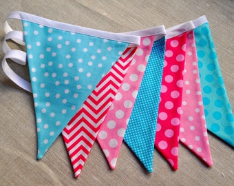 Pink and aqua fabric pennant bunting banner, Winter Wonderland birthday party decor ONEderland flag garland cake smash photo prop