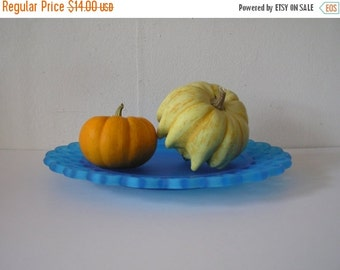 SUMMER SALE Blue Frosted Cut Glass Plate- Westmoreland  Bermuda Blue Glass