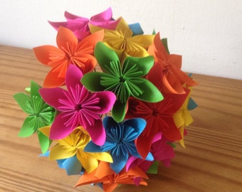Origami kusudama paper flower rainbow bouquet