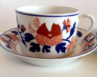 Set of Two of Vintage Fitz & Floyd Mandarin Garden China Porcelain Tea / Coffee Cups with Saucers