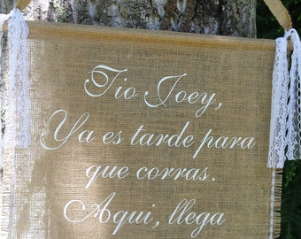 Spanish Here Comes The Bride, Here Comes The Love Of Your Life, Burlap Banner, Rustic Wedding, Burlap Wedding, Personalized Banner