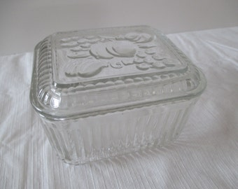 Clear Glass Refrigerator Dish - Fruit Motif