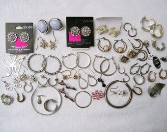 Silvertone EARRING LOT 21 pairs 22 singles Pierced Stud Dangle Hoop Rhinestone Mixed Lot Destash