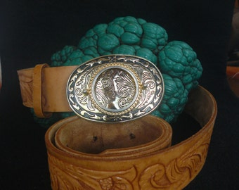 Vintage Western Hand Tooled Hand Made Leather Belt with Gold Black Western Blank Silver Dollar Gemstone Mount Belt Buckle