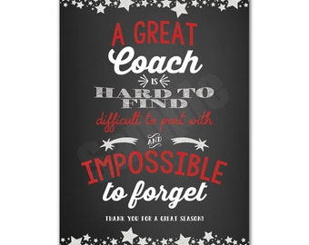 Coach Appreciation Thank You Card Printable Instant Download Tag Typography Sign