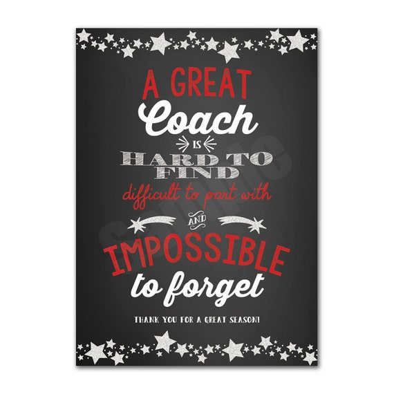 Coach Appreciation Thank You Card Printable Instant Download