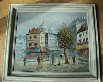 Vintage Original Oil Painting by The Artist Caroline Burnett of a Parisian street scene in an elegant color palette with great texture