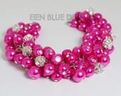 Hot Pink Pearl Bracelet, Chunky Pearl Bracelet, Cluster Bracelet, Fuchsia Cluster Bracelet, Hot Pink Pearl Bracelet, Hot Pink Wedding Combo