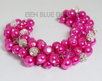 Hot Pink Bracelet, Chunky Bracelet, Cluster Bracelet, Bridal Jewelry, Fuchsia Cluster Bracelet, Hot Pink Pearl Bracelet, Bridesmaid Gift.