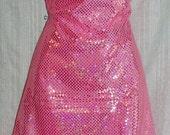 "Fabric Velvet Pink Flat  Velvet with Hologram Sequins  2 Way Stretch Flat Velvet Nylon Polyester Sold By The Yard-New off Bolt--60"" Wide"
