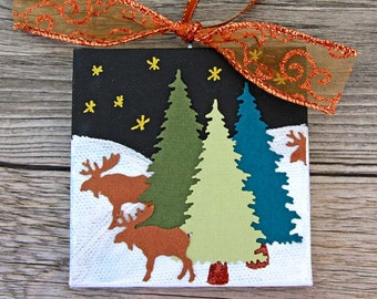 Christmas Canvas Ornament, Winter Landscape with Trees and Moose, Golden Starry Night Scene, Original Mixed Media Art, Holiday Decoration