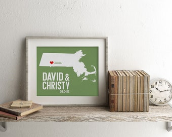 Massachusetts Wedding Gift - Personalized State and Heart - Custom Wedding Date - Location City and State Modern Art Print - 8x10