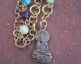 Quan Yin Pendant Charm - Boho Hippie Chain and Gemstone Beaded Asymmetrical Necklace with Quan Yin Charm