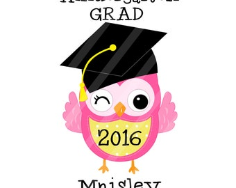 Kindergarten Graduation Owl Your Choice Digital Download for iron-ons, heat transfer, Scrapbooking, Cards, Tags, DIY, YOU PRINT