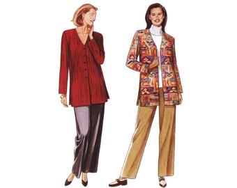 Vintage 1990s long sleeve tunic, wide leg pants, plus size trousers, UNCUT Simplicity 9165 sewing pattern, size 10 12 14 16 18 20