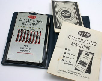 Vintage 1950s Wizard Calculating Machine, early adding calculator, math, office accessory, geekery, geek, nerd, made in West Germany,