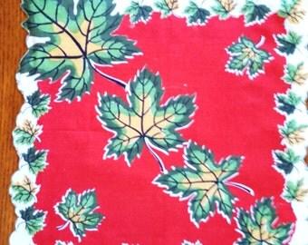 Striking Vintage Autumn Leaves Cotton Hanky