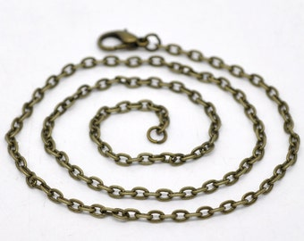 """4 Bronze Necklaces - Antique - 4x3mm - Flat Link - 16""""  - Ships IMMEDIATELY from California - CH704"""