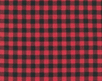 FLANNEL - Kaufman - Burly Beavers by Andie Hanna - Plaid Flannel - Cardinal