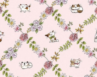 Clothworks - Cats in the Garden - Light Pink