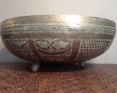 Vintage Nigerian etched brass bowl footed bowl