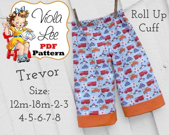 Trevor Boy's Pants Pattern, Boys Sewing Pattern pdf, Cuffed Long Pants, Beach Shorts Pattern, Shorts Pattern. Toddler Pants Pattern.