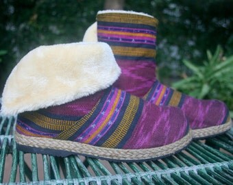 Womens Ankle Boots In Berry Javanese Ikat Plush Lining Fold over Cuff House Shoes Slippers - Naya