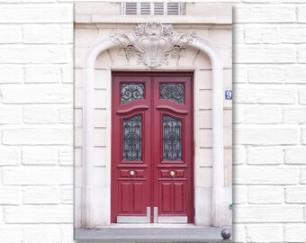 Paris Photograph on Canvas - Red Door No. 9 on Gallery Wrapped Canvas, Paris Architecture,  French Home Decor, Large Wall Art