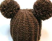 Brown baby bear wool blend hat with pom pom ears.  Ready to ship.  Ribbed wool hat 3-6 months.  Unisex winter hat with pom pom ears.