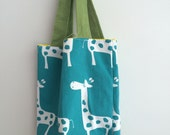 Giraffe Mini Button Tote Bag, Teal and Green *SALE*