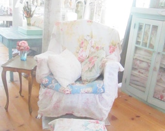 Needlepoint stool  white legs Vintage barkcloth cover roses  shabby chic prairie cottage stool