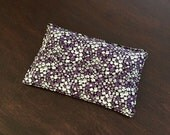 Flaxseed Filled Owie bags, Ouchie Bags, Natural Hot/Cold Therapy Large purple black white flowers
