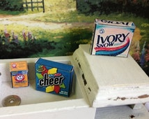 Dollhouse Miniature Baking Soda, Ivory Snow Detergent or Cheer Laundry Detergent.  All Empty boxes