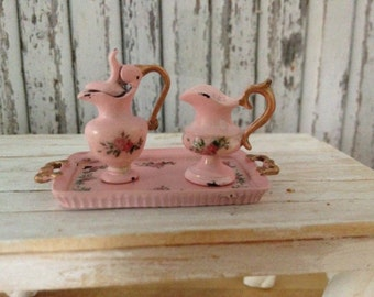 Dollhouse Miniature Shabby Chic Vintage Victorian Style Pink Metal Set of 2 Wine Jugs and Tray