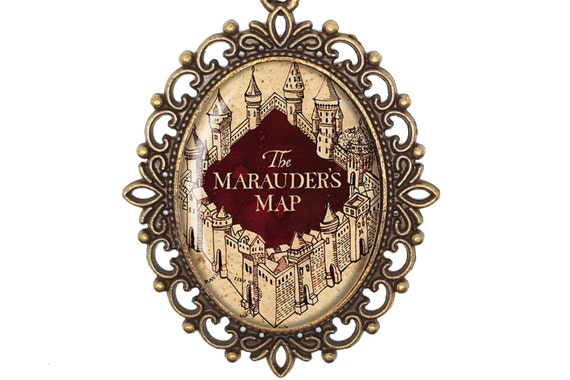 Harry Potter J K Rowling Marauders Map Solemnly Swear Large or Small Bronze or Silver Cameo Necklace Jewellery