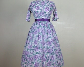 Vintage 1950s Chiffon Dress 50s Purple Floral Rose Print Dress with Purple Satin Belt Size 6/M