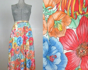 Vintage 1970s Cotton Skirt 70s Bright Floral Print Skirt with Natural Twine Belt Size M Medium