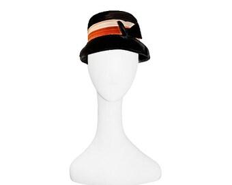 Black Hat, Lynne Brook, Velvet Hat, 1960s Flower Pot Hat, Orange Hat, Hat Size 20, Vintage 1960s, Black Vintage Hat, Black Bow, Bucket Hat