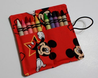 FAST SHIP! Crayon Rolls Party Favors, made from Mickey Mouse fabric, crayon holder for 10 Crayons, Mickey Mouse Birthday Party Favors