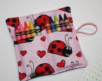 Crayon Roll Ladybug Love Crayon Rollup, holds up to 10 Crayons Crayon Roll Party Favors