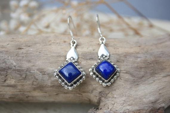 LAPIS LAZULI EARRINGS - Sterling Silver Earrings- Gemstone Earrings- Handmade- Silver Jewellery- Sacred Geometry- Healing Crystals- Yoga