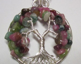 Tourmaline Nugget Wire Wrapped Tree of Life Necklace, Multi-Color Tourmaline Tree of Life, Tree of Life Pendant