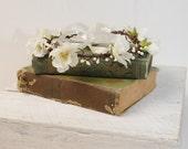 Flower Crown Headband, Ivory Wedding Crown, Flower Head Wreath, Floral Wedding Halo, Bridal Hair Wreath. Wedding Hair Piece, Floral Crown