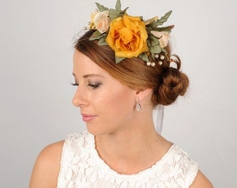 Rose Crown, Fascinator Headband, Rustic Floral Crown, Woodland Head Wreath, Wedding Hair Piece, Autumn Head Piece, Spring Racing Flower Halo